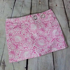 Lilly Pulitzer Skort Pink Whit Flowers Size 6